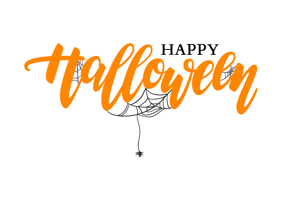 Happy Halloween lettering. Holiday calligraphy with spider.