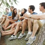 Group of diverse young people on a hike