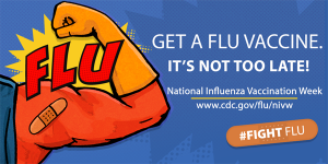 CDC Get A Flu Shot Graphic (superhero arm with a bandaid)