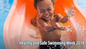 Healthy and Safe Swimming Week 2018 (small child on water slide)