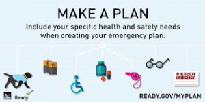 Make a Plan. Include your specific health and safety needs when creating your emergency plan. ready.gov/myplan