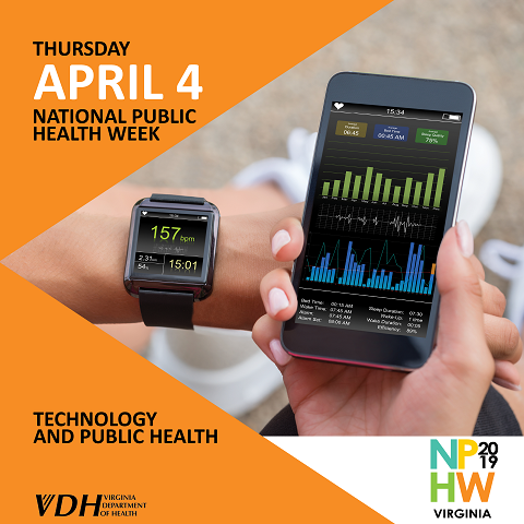 Thursday. April 4. National Public Health Week. Technology and Public Health. NPHW 2019 Virginia. Virginia Department of Health. someone syncing their fitness watch with their phone.