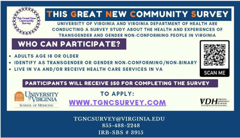 Flyer in blue, purple and orange on white background for TGNC Survey. All text on the flyer is duplicated in the announcement on this web page.