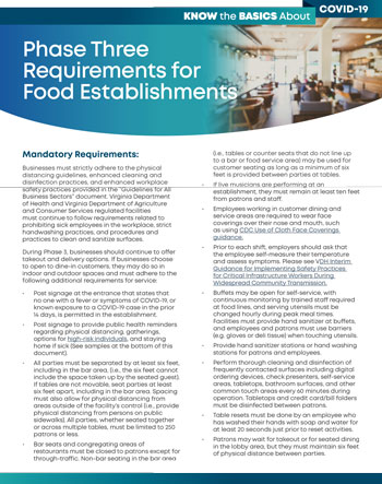 Phase Three Requirements for Food Establishments