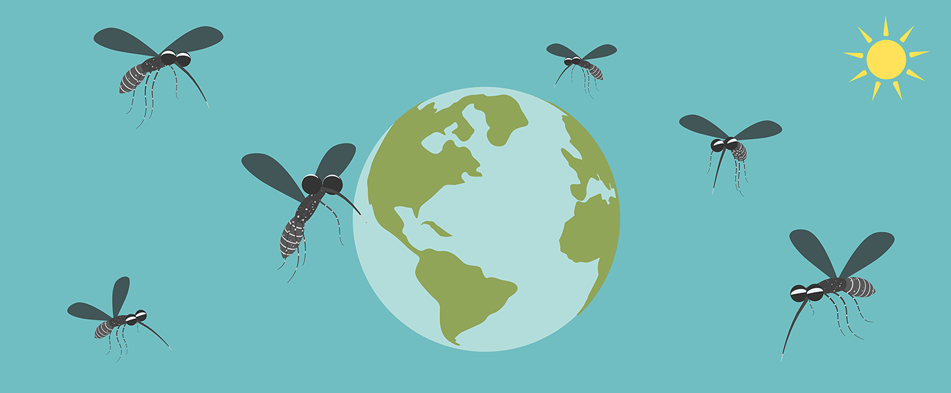 Asian Tiger Mosquitoes around world globe and sun
