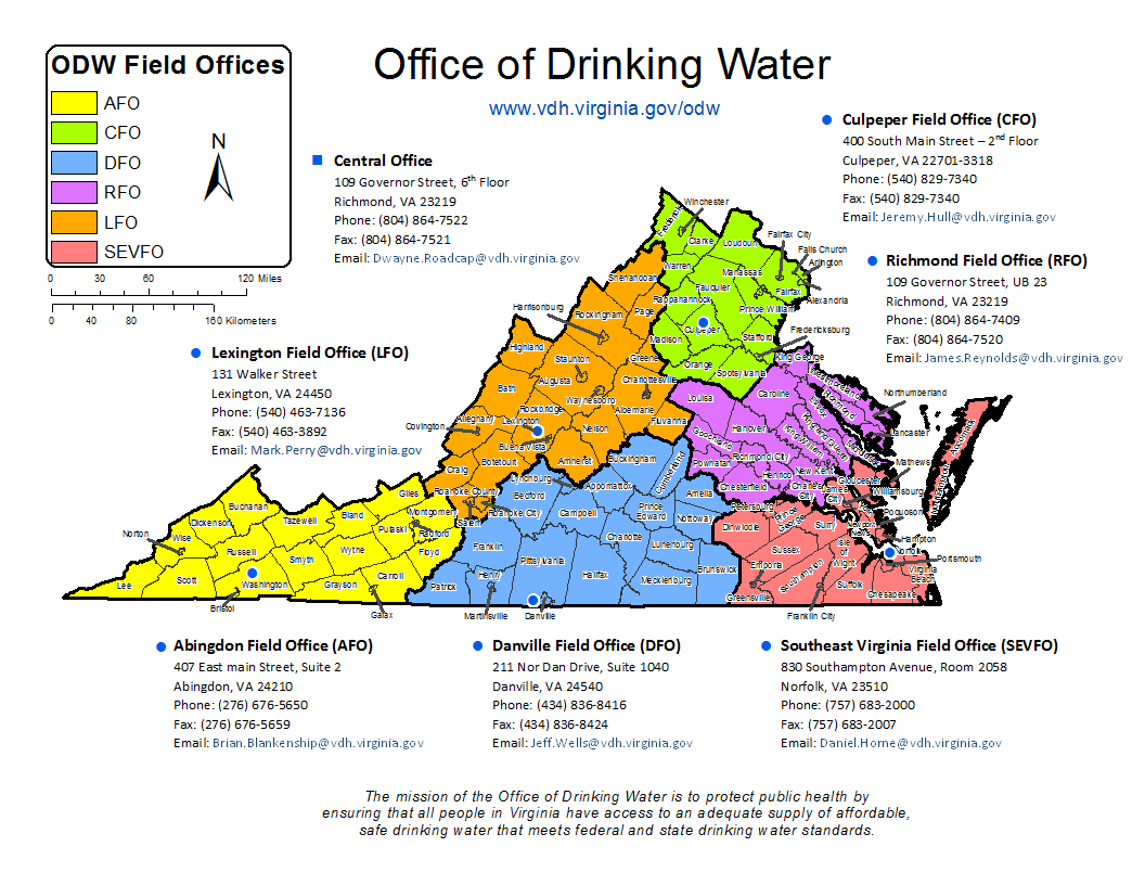 Map showing the Office of Drinking Water Service Areas