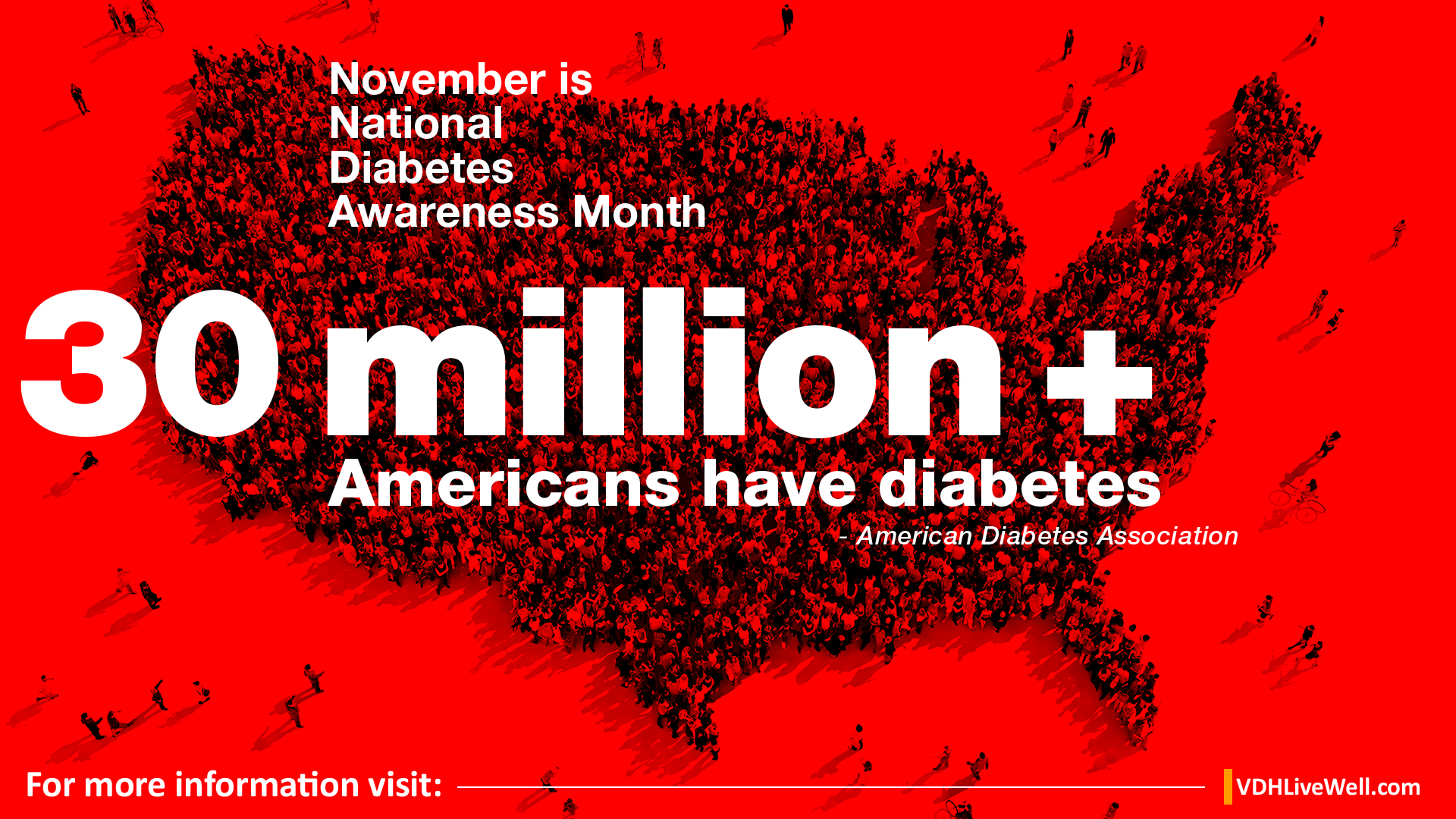 Photo: Group of people assembled in shape of United States with red overlay. Text: November is National Diabetes Awareness Month. 30 million + American have diabetes- American Diabetes Association
