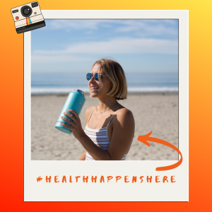 Health Happens Here, arrow pointing to a woman drinking water at the beach