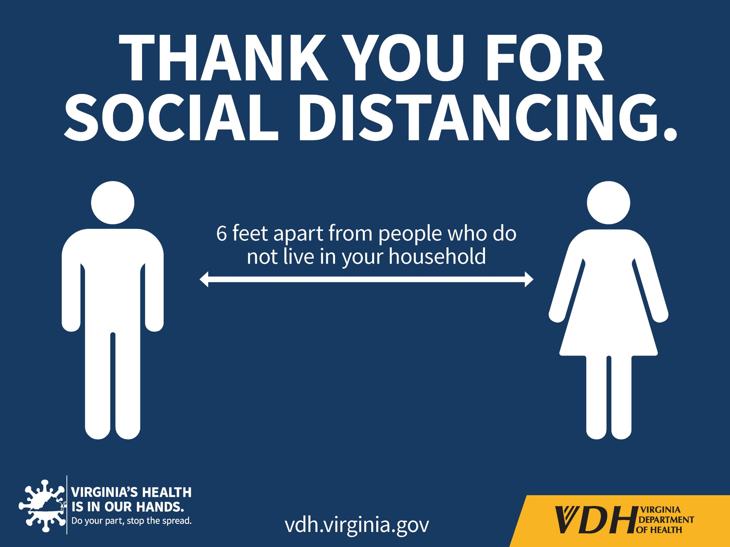 Thank you for social distancing sign