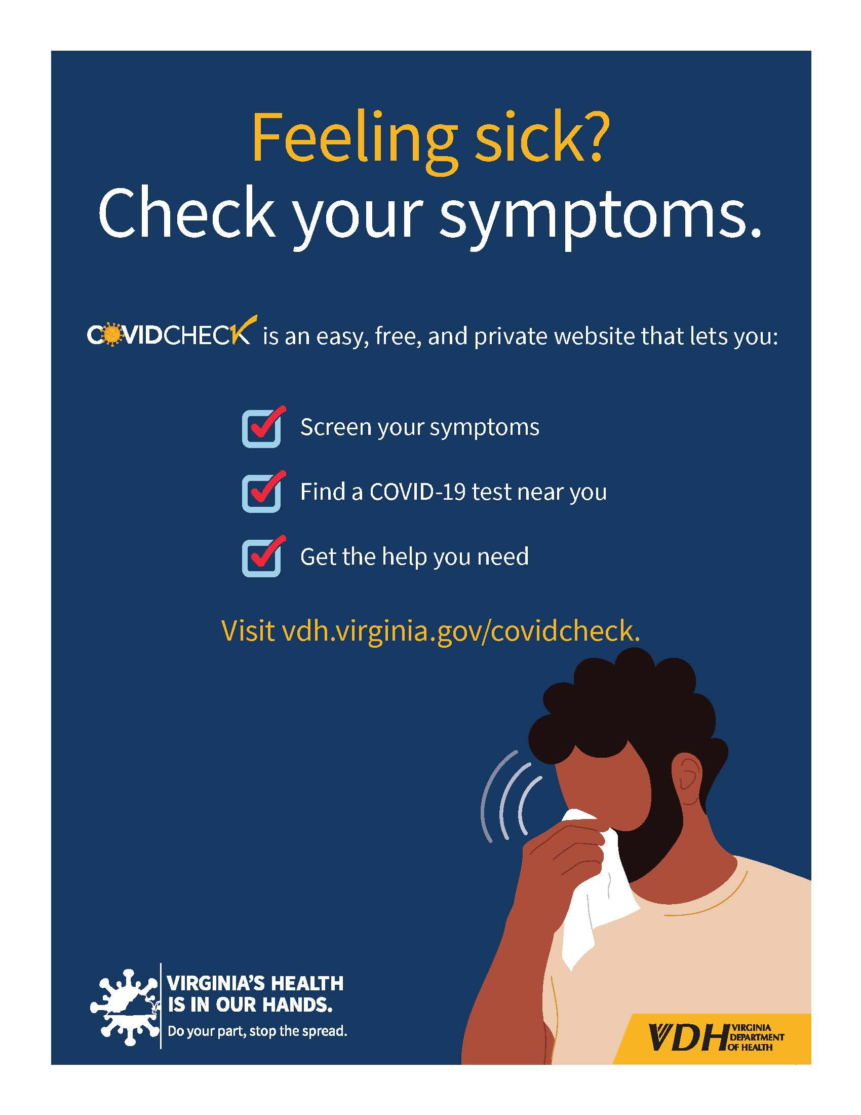 Check your symptoms blue background