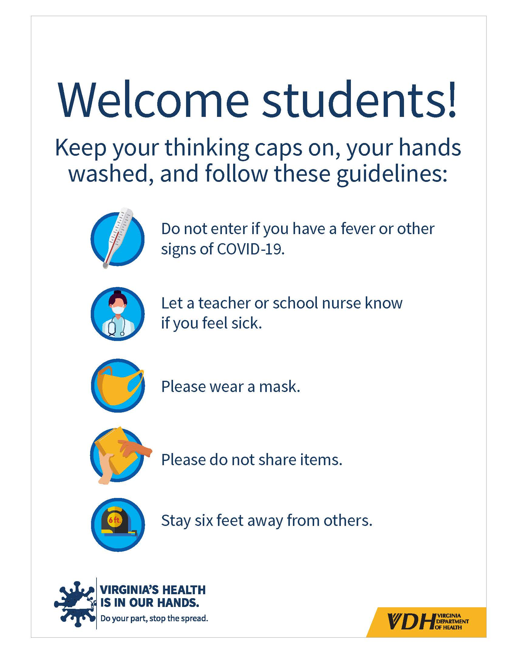 Welcome students with white background