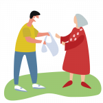 Illustration of masked man handing groceries to women