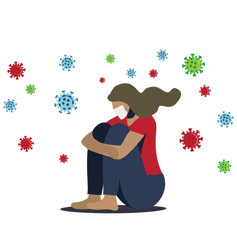 Illustration of women not feeling well sitting with arms around legs