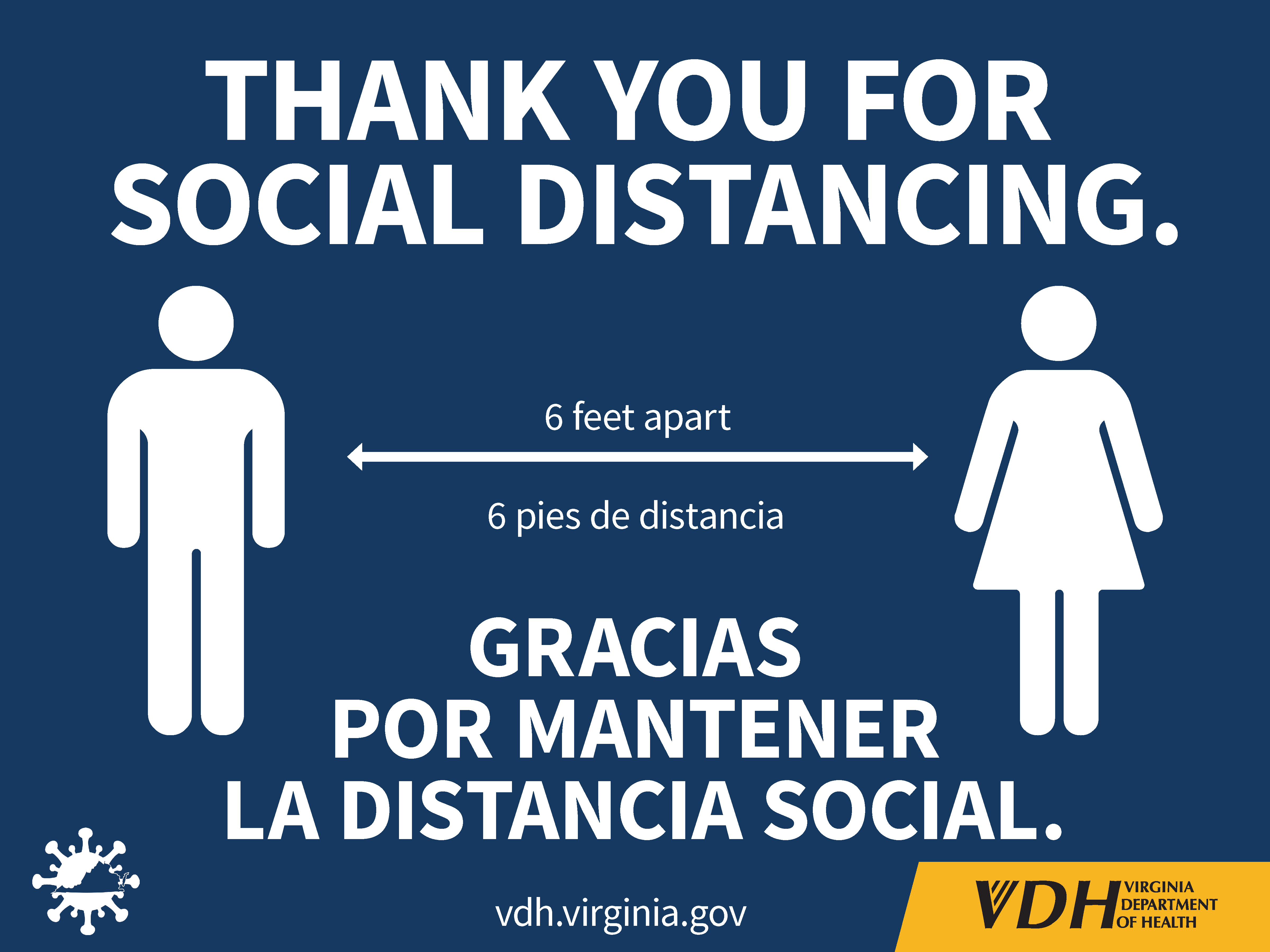 Thank you for social distancing bilingual