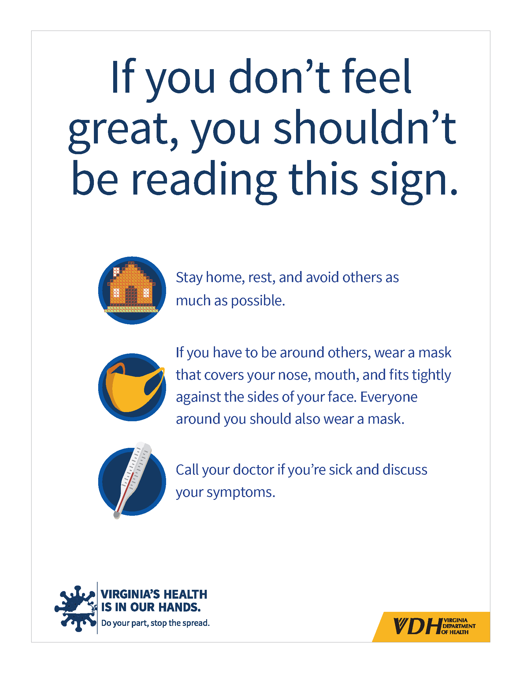If you don't feel well you should not be reading this sign with white background