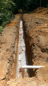 Photo of drainfield trench
