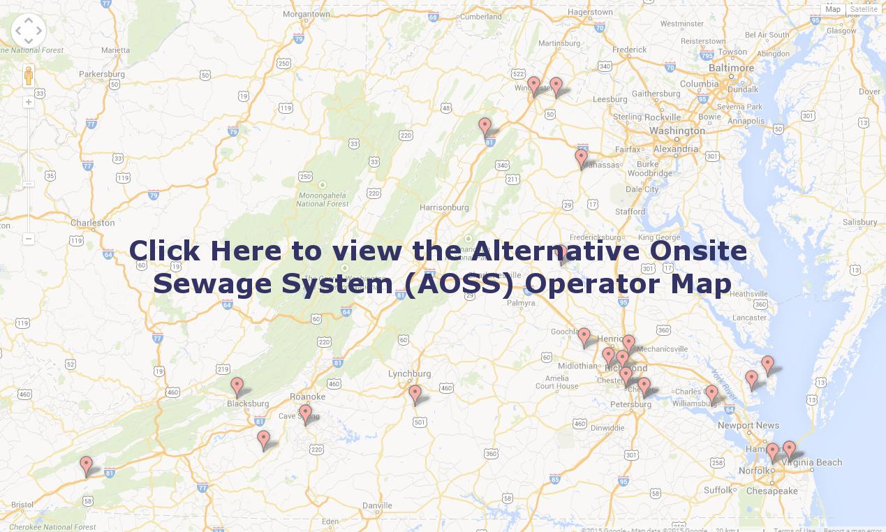 Alternative Onsite Sewage System (AOSS) Operator Map