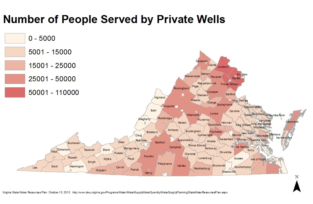 Map of number of people served by private wells in virginia
