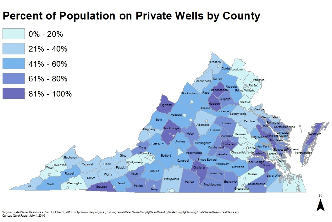 Map of percent population served by private wells by county in Virginia