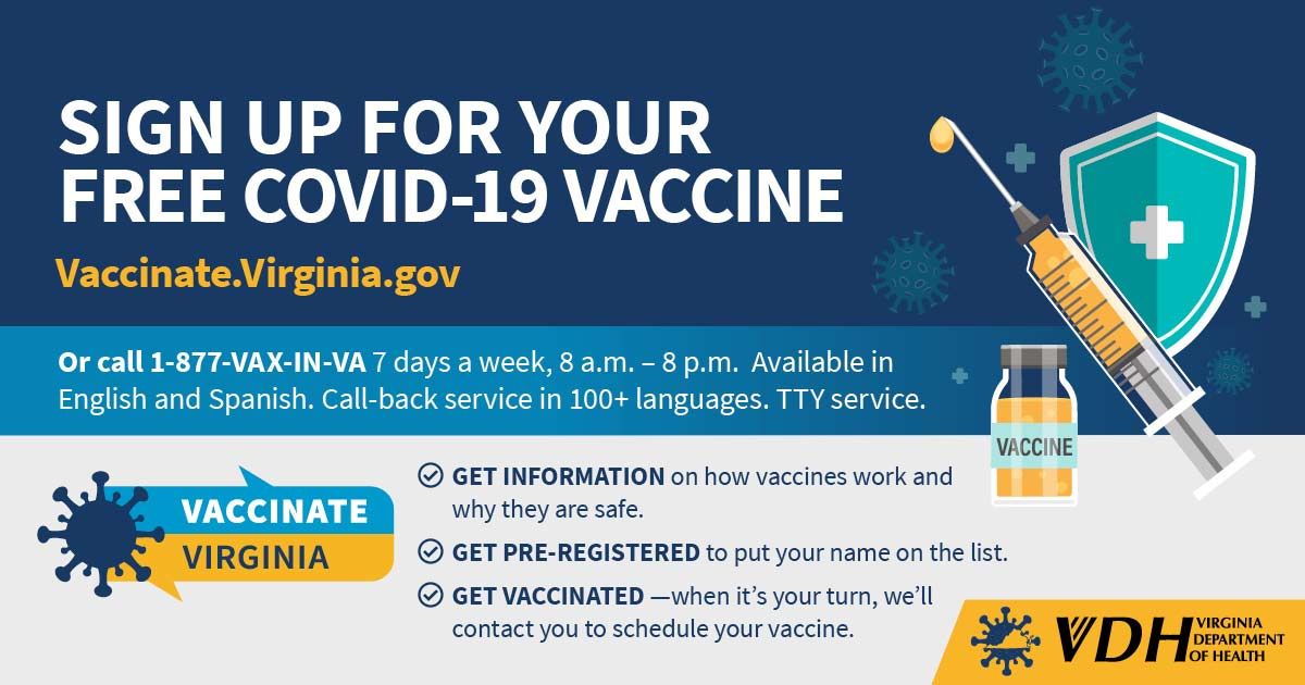 English signup vaccinate.virginia.gov