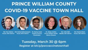PWC area town hall March 30 6pm Dr. Alison Ansher health director PWHD and VDH vaccine Coordinator Dr. Danny Avula