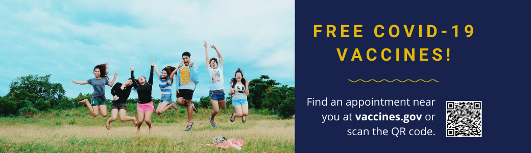 Free COVID vaccine with young people jumping
