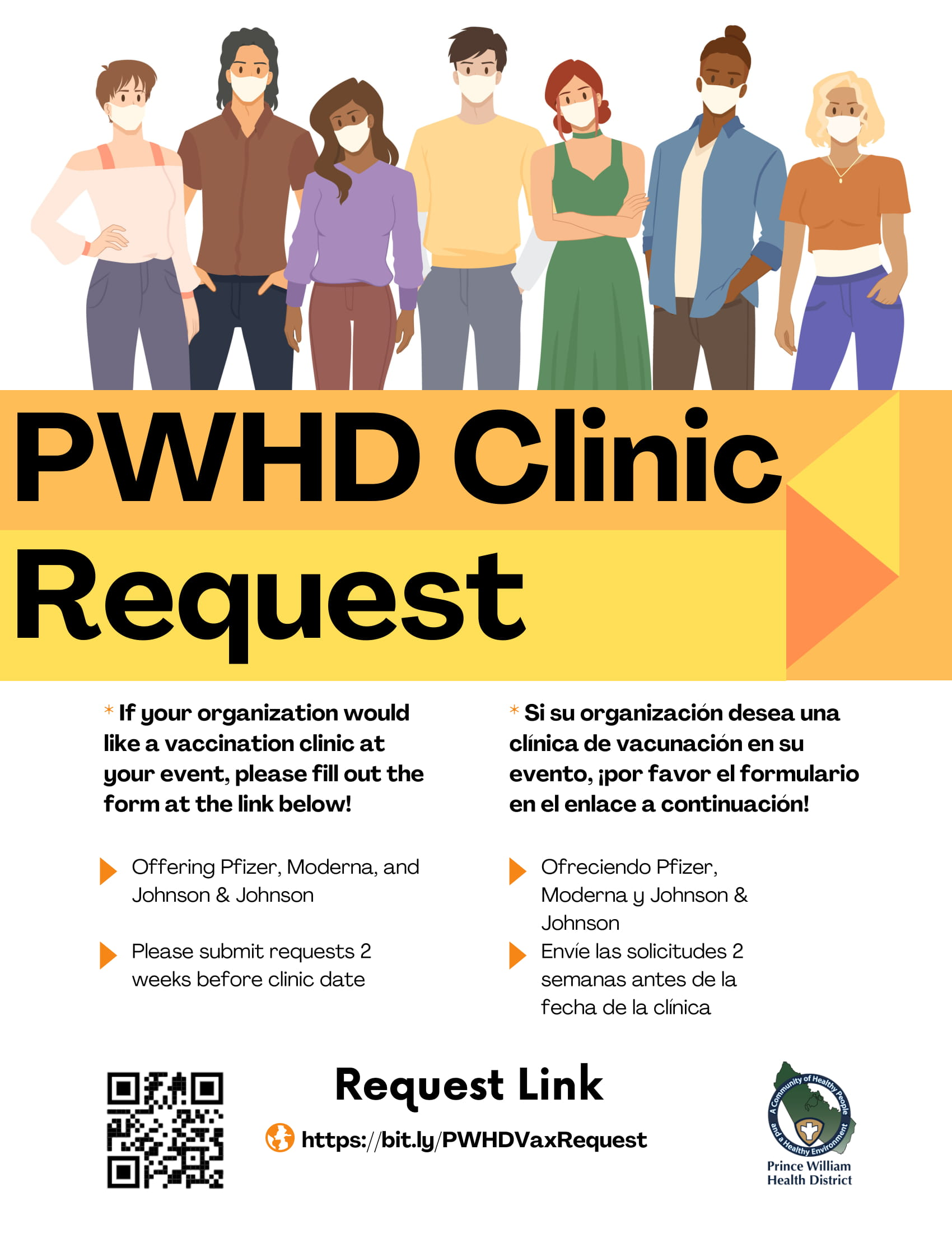 PWHD community vaccination clinic request flyer