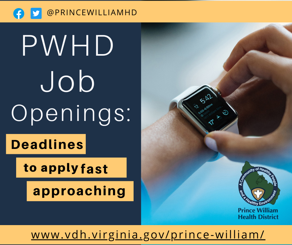 Job openings at the Prince William Health District