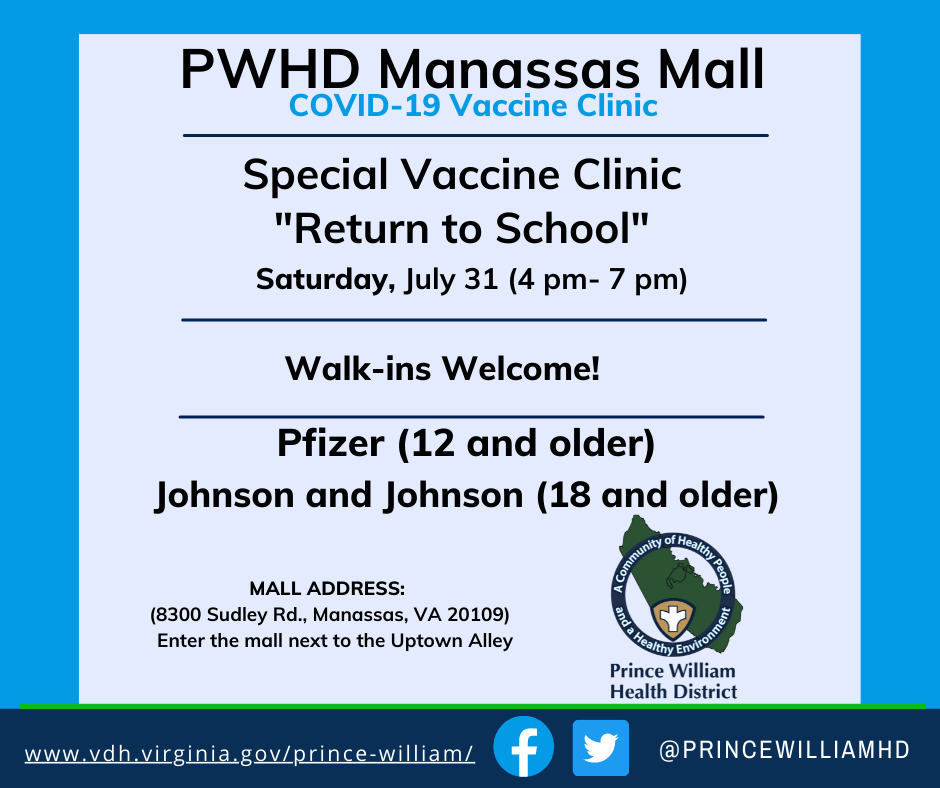 PWHD Manassas Mall special COVID-19 vaccine clinic July 31 Return to School