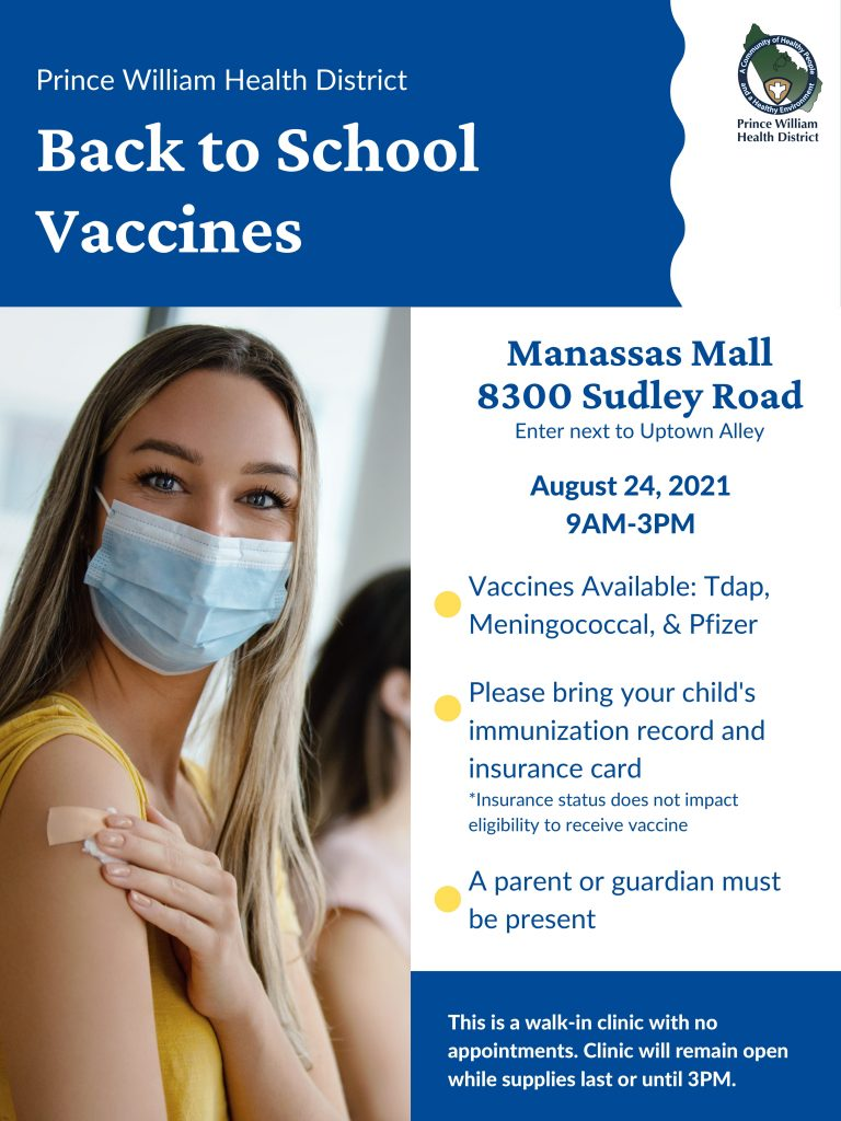 Back-to-School Vaccines Clinic on August 24 (9 am to 3 pm)
