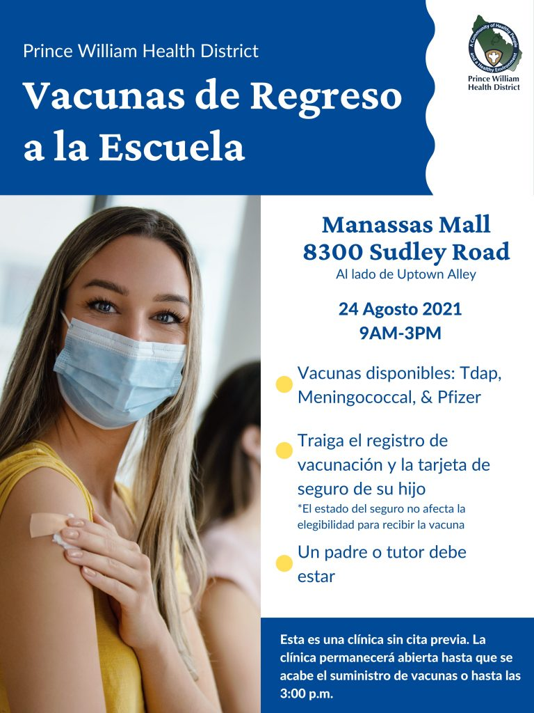 In Spanish back to school vaccines clinic Aug. 24 Manassas Mall