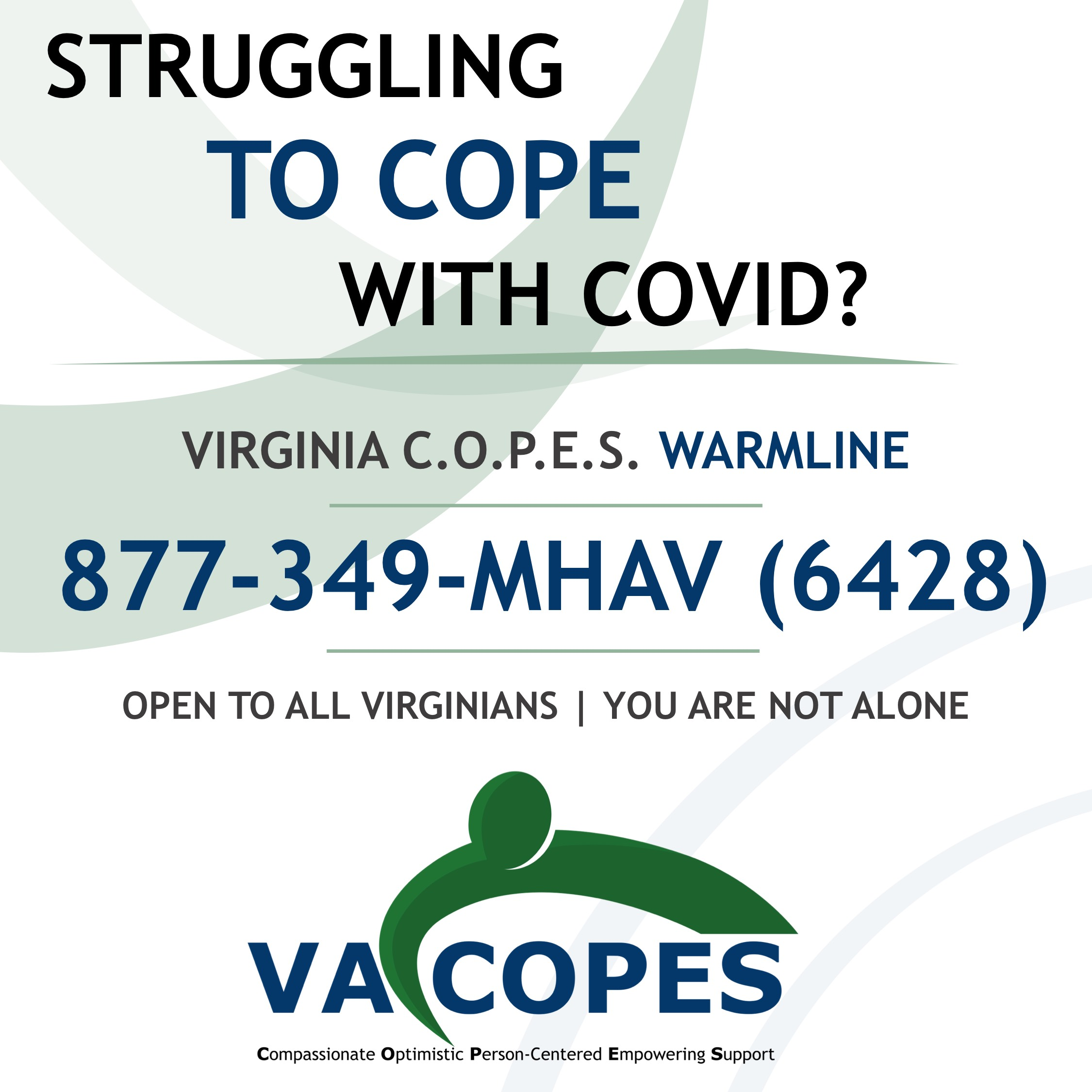 Struggling to Cope with COVID? Call 877-349-6428 for assistance