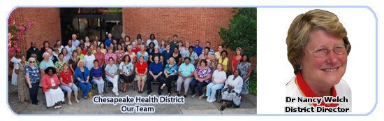 Chesapeake Health District Banner Image showing staff and director.